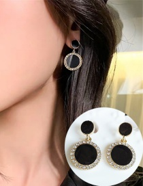Fashion Black Alloy Round Diamond Earrings