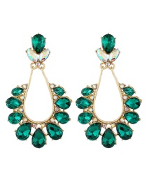 Fashion Red Water Drop Alloy Pierced Earrings With Rhinestones