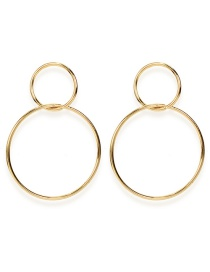 Fashion Golden Geometric Circle Metal Earrings