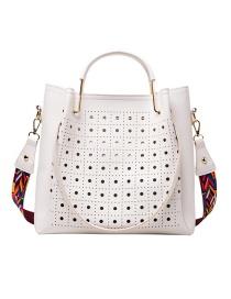 Fashion Section Two White Hollow Wide Shoulder Strap Crossbody Crossbody Bag