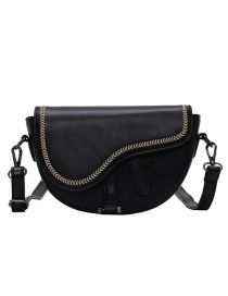 Fashion Black Frosted Embroidered Shoulder Cross-body Bag