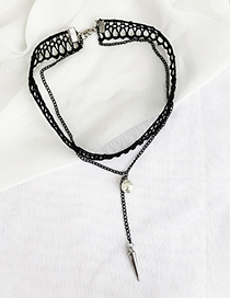 Fashion Black Lace Alloy Chain Pearl Necklace