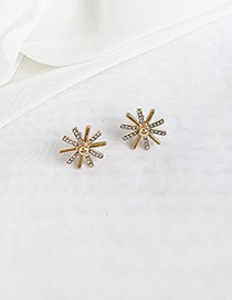 Fashion Golden Sunflower Stud Earrings With Alloy Diamond