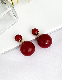Fashion Red Alloy Resin Bead Earrings