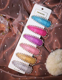 Fashion Color Mixing Geometric Triangle Hairpin Set With Colored Diamonds