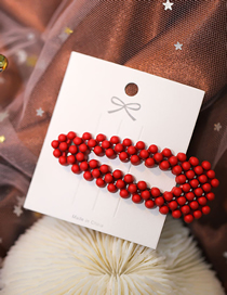 Fashion Red Resin Geometric Triangle Hollow Hairpin