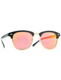 Fashion Bright Black Frame Red Film Half Frame Rice Nail Polarized Toad Sunglasses