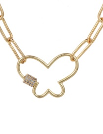 Fashion Gold 40cm Copper-inlaid Zircon Butterfly Necklace