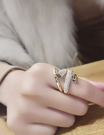Fashion Silver Adjustable Open Ring With Rhinestone Geometry