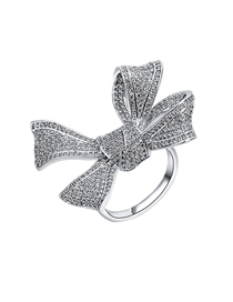 Fashion Silver Open Ring With Diamond Bow