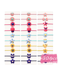 Fashion 30 Colors Flower Five-pointed Star Bow Rabbit Geometric Children's Hair Rope Set