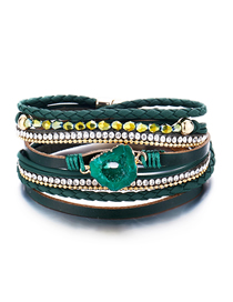 Fashion Green Artificial Leather Beaded Magnetic Buckle Multi-layer Bracelet