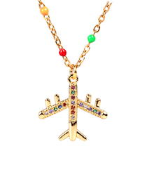 Fashion Golden Full Diamond Pendant Dripping Stainless Steel Necklace