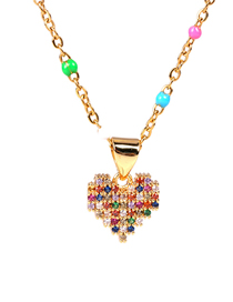 Fashion Golden Love Resin Alloy Necklace With Color Diamonds