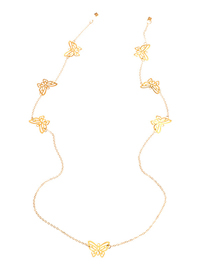 Fashion Golden Multiple Butterfly Hollow Metal Hanging Neck Chain Eyes