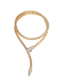 Fashion Golden Spirit Snake And Diamond Double-end Alloy Necklace