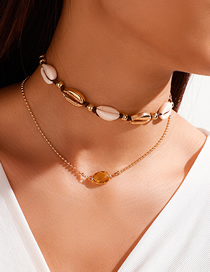 Fashion Golden Crystal Natural Shell Knotted Braided Alloy Double Necklace