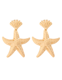 Fashion Golden Alloy Starfish Shell Earrings