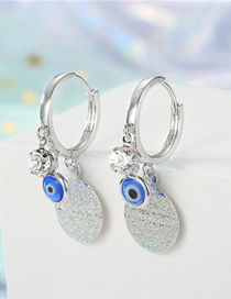 Fashion Silver Round Frosted Eyes Zircon Star Sequin Eye Earrings