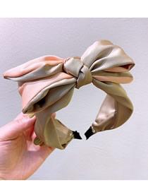 Fashion Pink + Coffee Three-layer Silk Bow Stitching Contrast Silk Headband