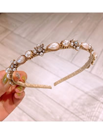 Fashion Pearl Hair Band Pearl-set Rhinestone Geometric Thin-edged Headband