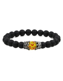 Fashion Frosted Amber To Grab The Black Crown Frosted Stone Crown Wood Grain Moonstone Crown Bead Bracelet