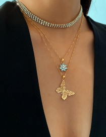 Fashion Golden Geometric Zircon Flower Micro-layered Small Butterfly Necklace