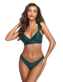 Fashion Green Ruffled Solid Color Low Waist Split Swimsuit