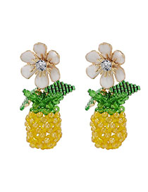 Fashion Yellow Braided Crystal Beads: Fruit Pineapple Earrings