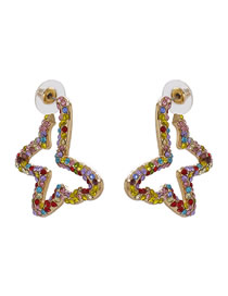 Fashion Colour Butterfly Studded With Pearl Alloy Earrings