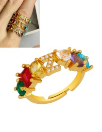 Fashion Z Gold Heart-shaped Adjustable Ring With Colorful Diamond Letters