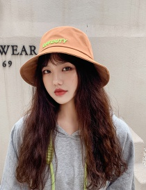 Fashion Caramel Color Letter Embroidered Offduty Cotton Fisherman Hat