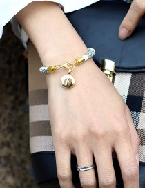Fashion white Pu Striped Leather Brass Button Plated Solid Gold Bracelet