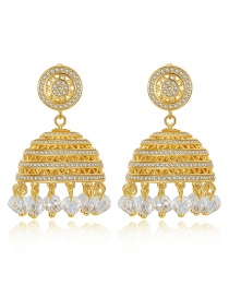 Fashion 18k Gold Copper Inlaid Zircons: Lanterns: Sufeng Bells: Earrings