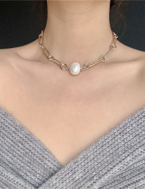 Fashion Dumb Gold Chain Metal Feel Pearl Necklace