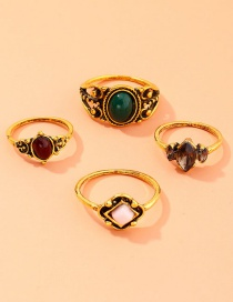 Fashion Golden Geometric Resin Ring 4 Piece Hair Rope