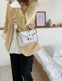 Fashion White Embroidered Wire Rivet Lock Buckle Handbag Shoulder Bag
