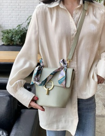 Fashion Green Lock Scarf Single Shoulder Bag