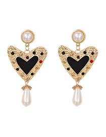 Fashion Black Alloy Diamond Pearls: Dripping Oil: Love Earrings