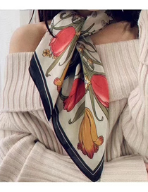 Fashion Beige Flower Printed Silk Scarves Small Scarves Versatile Uses
