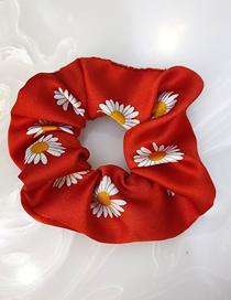 Fashion Big Red Little Daisy Prints Broadside Fabric Colon Circle Hair Rope