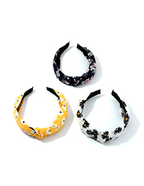 Fashion Mixed Color Printed Hand-knotted Wide-brimmed Flower Headband Set