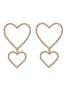 Fashion Golden Alloy Diamond Stud Earrings