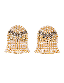 Fashion White Alloy Diamond Pearl Owl Stud Earrings