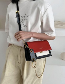 Fashion Red Impact Color Stitching Chain Shoulder Bag