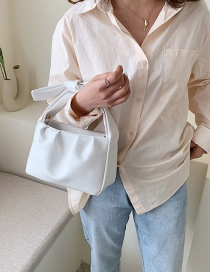 Fashion White Wrinkle Knotting Shoulder Strap Shoulder Bag