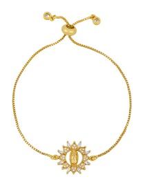 Fashion Hollow Round Gold Maria Bracelet With Copper Zircon