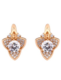Fashion Golden Copper Studded Zircon Stud Earrings