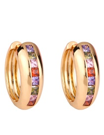 Fashion Golden Copper Inlaid Zircon C-shaped Diamond Earrings
