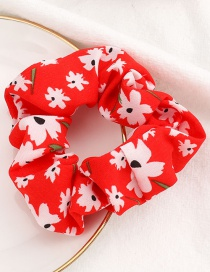 Fashion Red Small White Flower Printed Fabric Large Intestine Ring Hair Ring